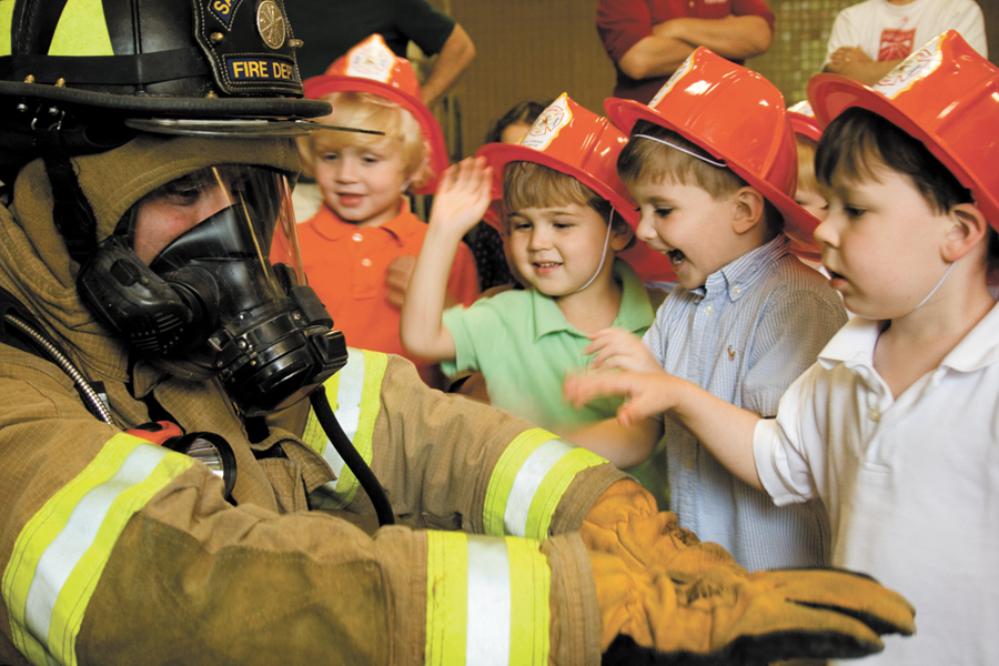 Image result for firefighters with kids
