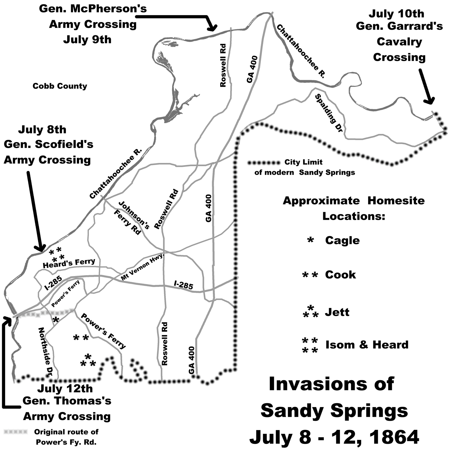 Civil War Occupation Followed Chattahoochee River Crossing - Map of atlanta civil war