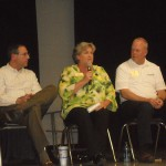 Left to right, Johns Creek Mayor Mike Bodker, Sandy Springs City Councilwoman Dianne Fries and Dunwoody Mayor Mike Davis discuss the proposal to create a new city of Brookhaven. They were part of a panel discussion at Montgomery Elementary School July 19 that was organized by Brookhaven Yes, a group that supports creation of the city.