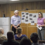 Jon Abercrombie, chair of the DeKalb County Public Library Board of Trustees, and Library Director Alison Weissinger address a group of residents about plans for a new Brookhaven library branch July 18.