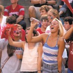 The Dunwoody pep squad, left to right, Bekah Passow, Katie Kilbourne, Bridget Sivewright, Katherine Gebhardt and Nina Petras enthusiastically encourage the team.