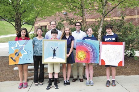 Special From left, Davis Academy student Neta Gal, art teacher Rebecca Ganz, Rabbi Micah Lapidus, student Mitchell Bohrer, student Halle Busby, middle school Principal Jamie Kudlats, and students Emily Binderow and Adam Spector, all played key roles in developing the music CD.