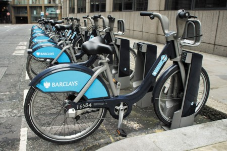Atlanta will soon have bike sharing stations similar to this one in central London.
