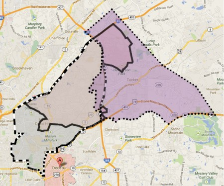 The proposed cities of Briarcliff, Lakeside and Tucker are different but overlap in the Northlake Mall area.