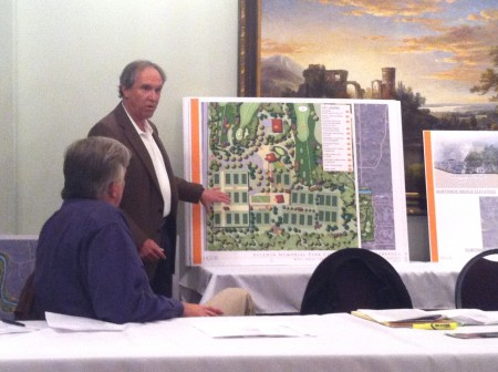 Atlanta Memorial Park Conservancy Vice-president Marty Elgison goes over the  master plan.