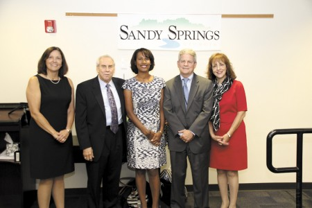 From left, Marcie Ernst, Joseph Buford, Sharon Dickson and Candiss Howard (far right) join Don Schaefer (second from right) on Sandy Springs municipal court.