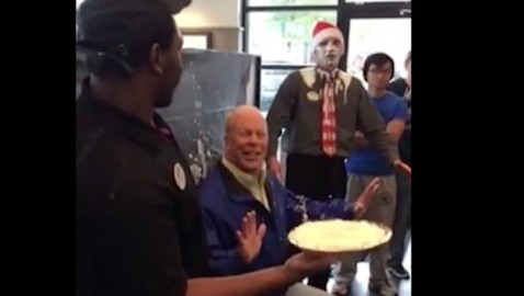 Mayor of Dunwoody takes pie in the face for homelessness