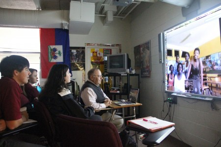 Holy Innocents' Episcopal students Skype with fellow students in South Africa.
