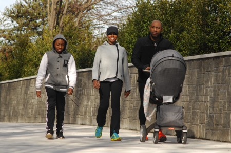 From left, Buckhead residents Josiah Ruth, 13, his mom Kathleen, father Cory, and four-month-old Kinsley, take a stroll along PATH400 on Jan. 17. The one-half mile trail officially opened for public use on Jan. 9.