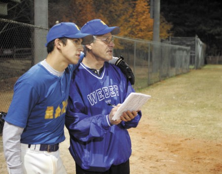 Jonathan Weiner with his father, Jerry Weiner, in 2006. Jerry Weiner has recently taken over as president of Dunwoody Senior Baseball.