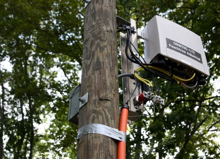 An LTE model small cell box attached to a utility pole on Chateau Drive in Dunwoody. Councilwoman Lynn Deutsch asked the city attorney if Cit Council could at least regulate the color of the wires to match aesthetically.