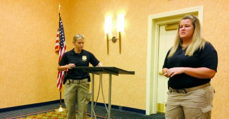 GBI Special Agents Renea Green, left, and Tricia Keenan speak about human trafficking at a Dunwoody Perimeter Chamber of Commerce luncheon on Nov. 17.
