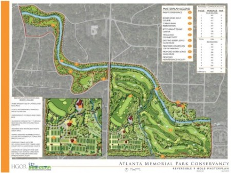 """The Atlanta Memorial Park Conservancy's proposed renovation of Bobby Jones Golf Course, to the right in this illustration, would reduce it to nine holes from 18 holes. A conservancy consultant proposes adding concrete trails around the perimeter of the the """"passive"""" portion of the park, which is shown in the upper left portion of this illustration."""