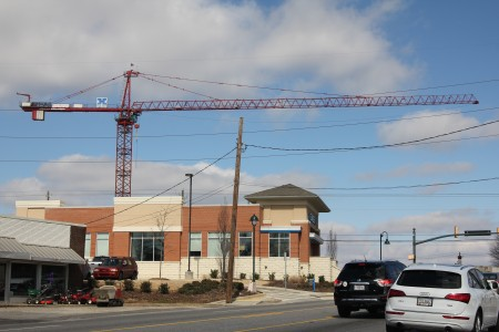 A tower crane at the City Springs development at Roswell Road and Mount Vernon Highway in Sandy Springs. (Photo John Ruch)