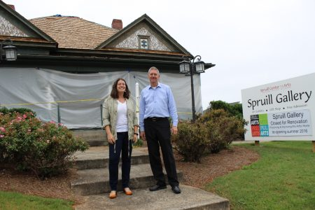 Jennifer Price, Spruill Gallery director, left, and Bob Kinsey, CEO of the Spruill Center for the Arts, in front of the gallery, currently undergoing renovations. (Photo Dyana Bagby)