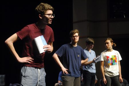 "Sam Reed, left, a student at The Galloway School in Sandy Springs, rehearses for ""The Complete Works of William Shakespeare, Abridged,"" in the school's Chaddick Theater on Sept. 8. (Photo Phil Mosier)"