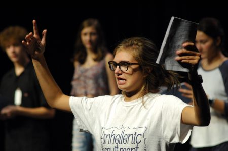 Abby Vogelsang gives it her all in front of other Galloway theater students. (Photo Phil Mosier)