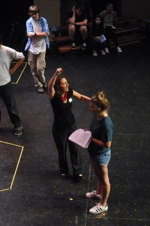 "Theater instructor Megan Cramer, center, directs Ellie Kaufman during ""The Complete Works of William Shakespeare Abridged"" rehearsal at The Galloway School on Sept. 8. (Photo Phil Mosier)"