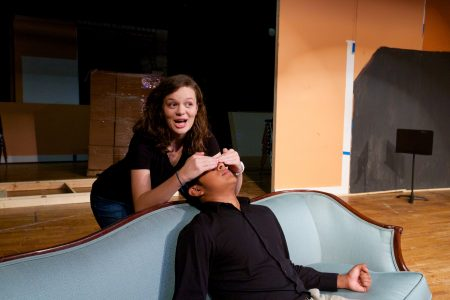 """Natalie Peek and Carlos Obregon get into character for Riverwood's upcoming """"Lend Me a Tenor"""" production. (James Barker Photography)"""