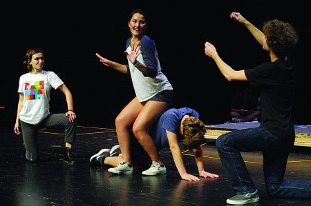 """From left, Steff Rinzler, Isabella Swaak, top, Derrick Bass, and Cole Smith, right, practice during """"The Complete Works of William Shakespeare Abridged"""" at The Galloway School on Sept. 8. (Photo Phil Mosier)"""