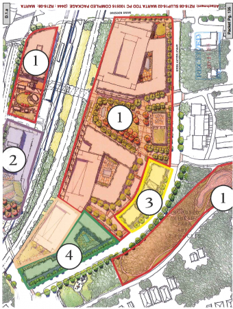 The MARTA redevelopment is planned to be completed in four phases. No. 1 includes the apartments and ground floor commercial, the 8-story office tower, the public access park, the transit station and the stormwater detention pond; No. 2 is the hotel, No. 3 the projected senior housing; and No. 4 is the for-sale residential units. Click to enlarge. (City of Brookhaven)