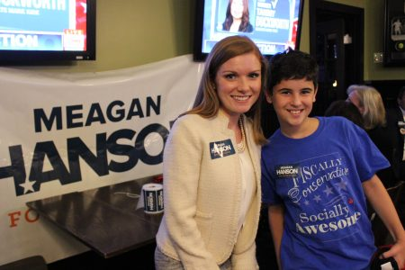Republican candidate for House District 80 Meagan Hanson with 14-year-old campaign volunteer Sam Brenner at her watch party Nov. 8. (Photo Dyana Bagby)