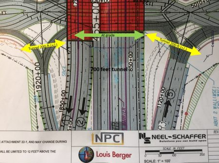 The rough plan for two tunnels (yellow arrows) and a side path (green arrow) in the forthcoming Abernathy Road/Ga. 400 diverging diamond interchange as shown on Joe Seconder's Bike Walk Dunwoody blog page.
